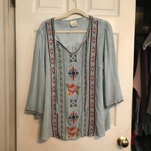 Women's Blue Distressed Floral Tunic. 2X